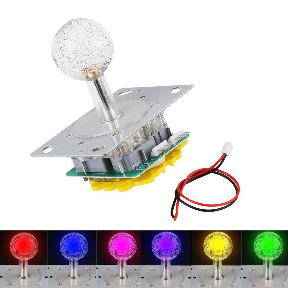 LED Bunte Beleuchtete Joystick Umschaltbar Von 4 Auf 8-Wege-Betrieb Fü r Arcade-Spiel DIY Kits Walfront