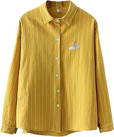 VEMOW Blusas Moda Mujer Top Camisa de Solapa de la Raya impresión del Tiempo de Manga Larga Blusa Suelta Blusa para Mujer OtoñO Primavera: Amazon.es: Ropa y accesorios