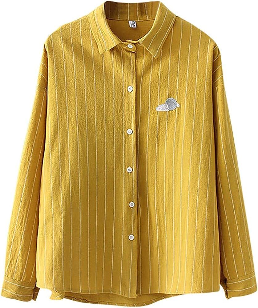 LOPILY Camisetas Mujer Top Stripe Solapa Camisa Impresión del Tiempo Manga Larga Blusa Suelta Moda Casual Botón Arriba Túnica Tops Suave Cómodo: Amazon.es: Ropa y accesorios
