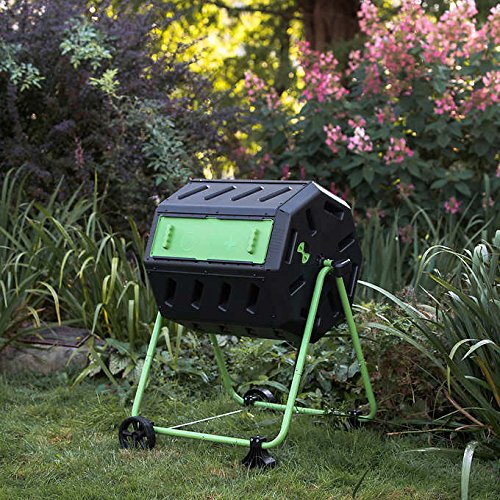 Dual Chamber Tumbling Composter with Wheel Kit by Dual Chamber