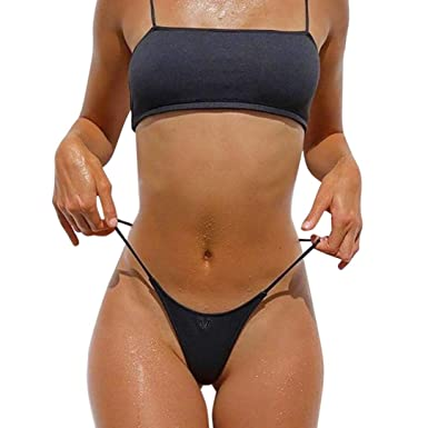 2601f4c9f0 Amazon.com  Highpot Womens Bikini Set Swimwear Brazilian Padded Top Swimsuit  Triangle Bottom  Clothing