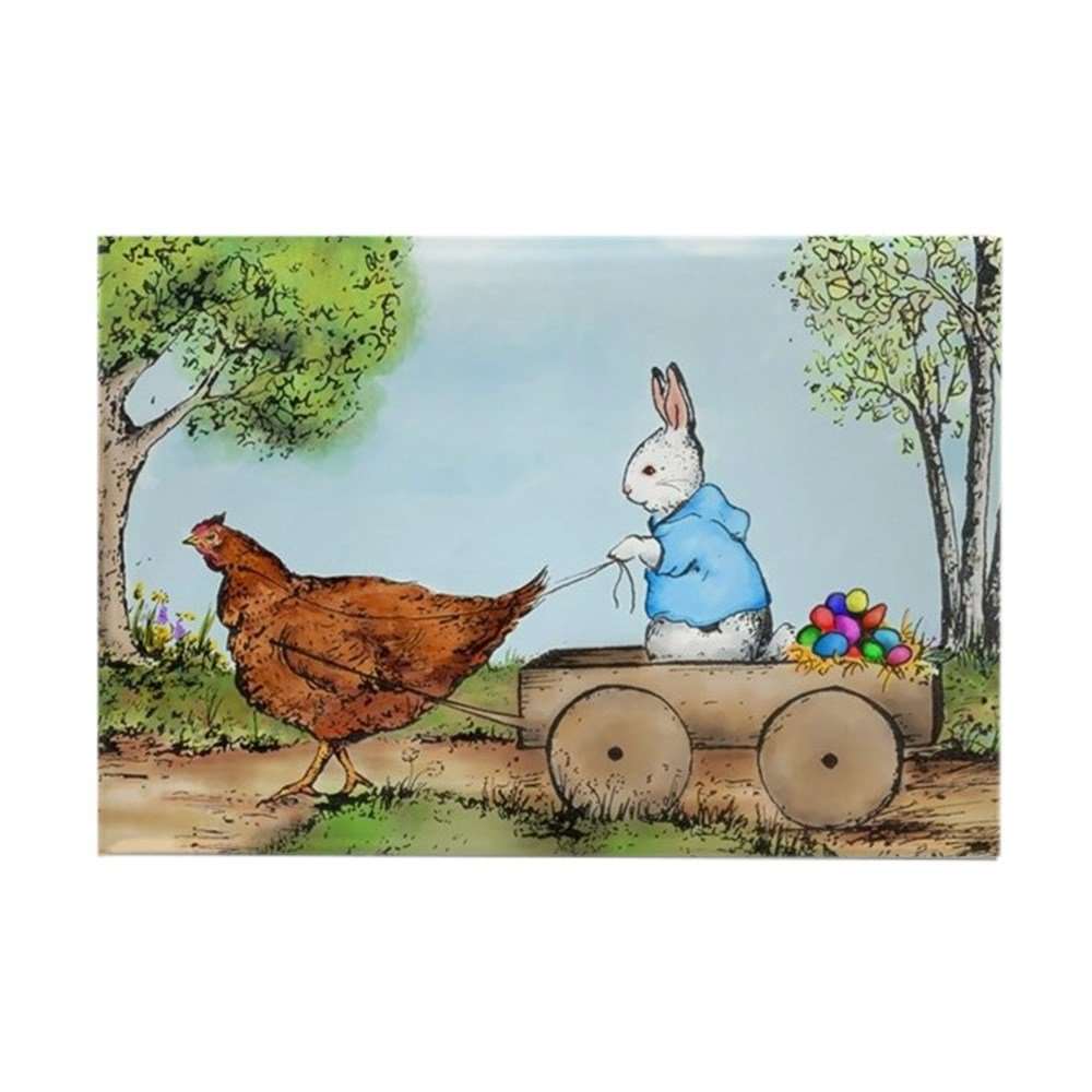 """CafePress Easter Bunny On The Road Magnets Rectangle Magnet, 2""""x3"""" Refrigerator Magnet"""