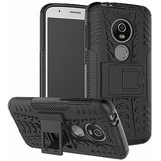 Moto E5 Play Case, Moto E5 Cruise Case, Yiakeng Dual Layer Shockproof Wallet Slim Protective with Kickstand Hard Phone Case Cover for Motorola Moto E5 Play (Black)