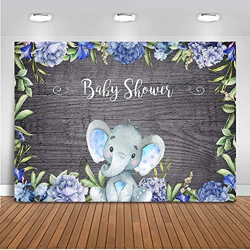 Mocsicka Boy Elephant Baby Shower Backdrop Baby Boy