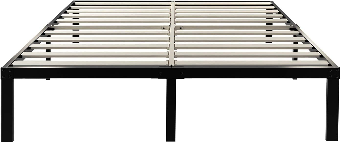 ZIYOO 14 Inch Wooden Slats Platform Bed Frame, 3500lbs Heavy Duty, Strengthen Support Mattress Foundation, Quiet Noise Free, King