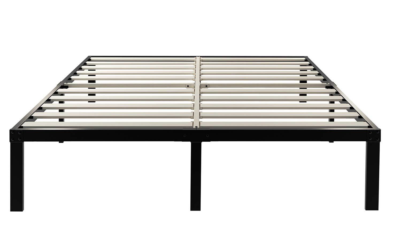 ZIYOO 14 Inch Wooden Slats Platform Bed Frame, 3500lbs Heavy Duty, Strengthen Support Mattress Foundation, Quiet Noise Free, Cal King