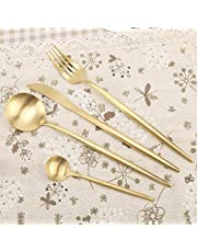 Dinnerware Set, Utensil Set, Titanium Plating Cutlery Set, Flatware Set, Family for Hotel