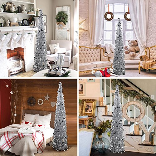 PartyTalk 5ft Pop Up Christmas Tree with Stand, Silver Tinsel Collapsible Artificial Christmas Tree for Holiday Christmas Home Decorations by PartyTalk (Image #6)