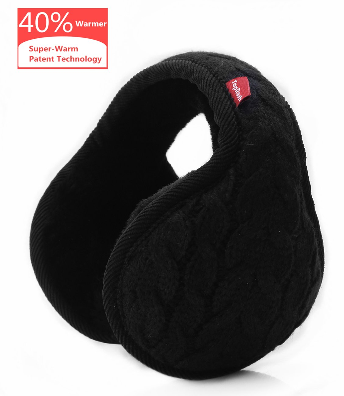 toprush折りたたみ式Ear Warmers /耳マフ – high-class防風フリース冬Earmuffs forメンズレディース&キッズ B077WS81KR Adjustable|1 Knitting Black 1 Knitting Black Adjustable