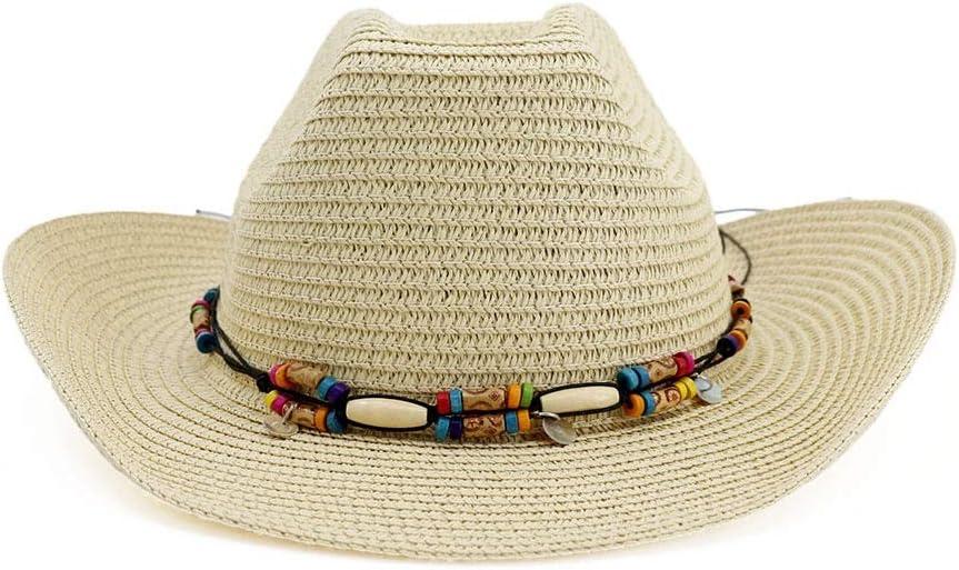 ZHANGBIN Chapeau de Cowboy de Paille Chapeau d/ét/é r/étro Hommes Dames d/éguisement Chapeau de Soleil Couleur : Navy Blue, Taille : 56-58CM