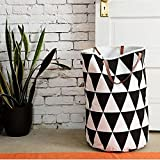 Hooshion® Semicircle Grid Pattern Hanging Bag Baby Kids Toy Clothes Canvas Laundry Basket Storage Bag with Leather Handles 40CM X 50CM (Triangle)