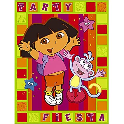 Amazon Com Dora Birthday Invitations And Thank You Cards Kitchen