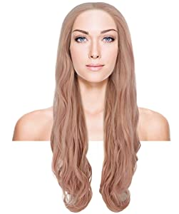 """Nunique Women's 30"""" Wavy Lace Front Heat Resistant Fashion Icon Wig - Extra Long Length Pinkk Hair - Easy to Wear and Simple to Maintain"""