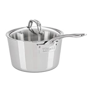 Viking Contemporary 3-Ply Stainless Steel Saucepan with Lid, 3.4 Quart
