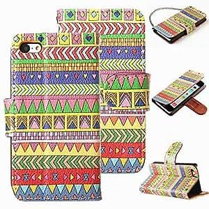 Folio de cuero PU caja de la carpeta de la cubierta híbrida tribal azteca del soporte del tirón para el iPhone 5c , B