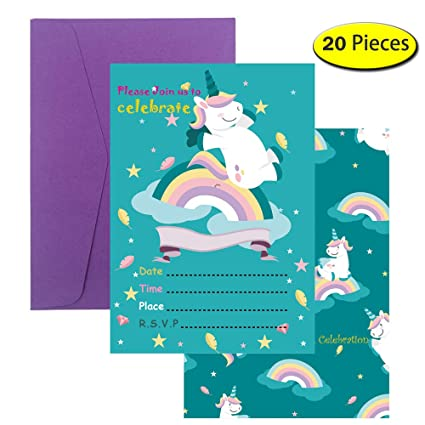 Bozoa Magical Unicorn Birthday Invitations Cards With Envelopes For Kids Baby Shower Party Supplies 20