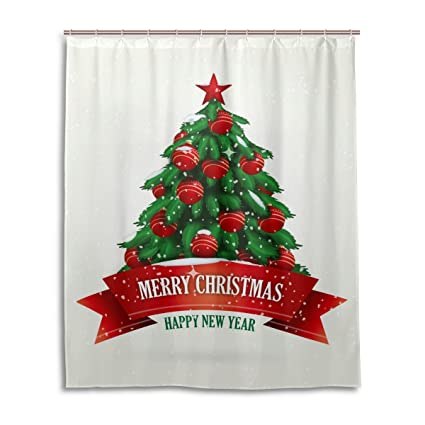 blue viper merry christmas shower curtain beautiful red christmas tree pattern 60 x 72 inch mildew - Christmas Shower Curtain Set