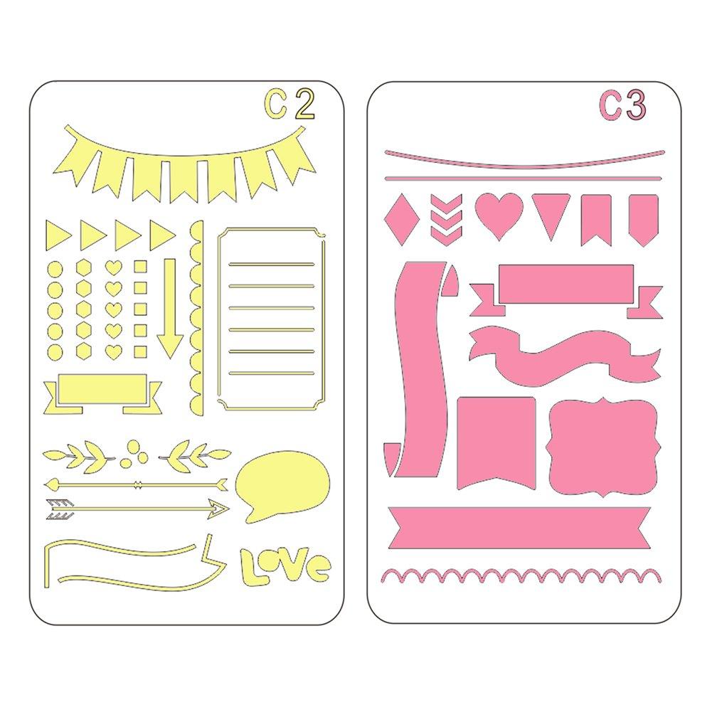 24 Unidades Plantillas de pl/ástico para Diario CCMART Tarjetas y proyectos de Bricolaje con Bolsa de Almacenamiento Cuadernos de Notas Diarios