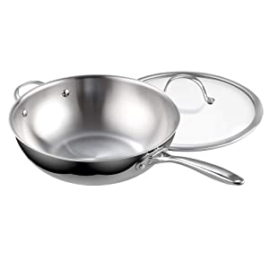 Cooks Standard 02595 Clad Stainless Steel Stir Fry Pan with Glass Lid 12-Inch Multi-Ply Wok Silver