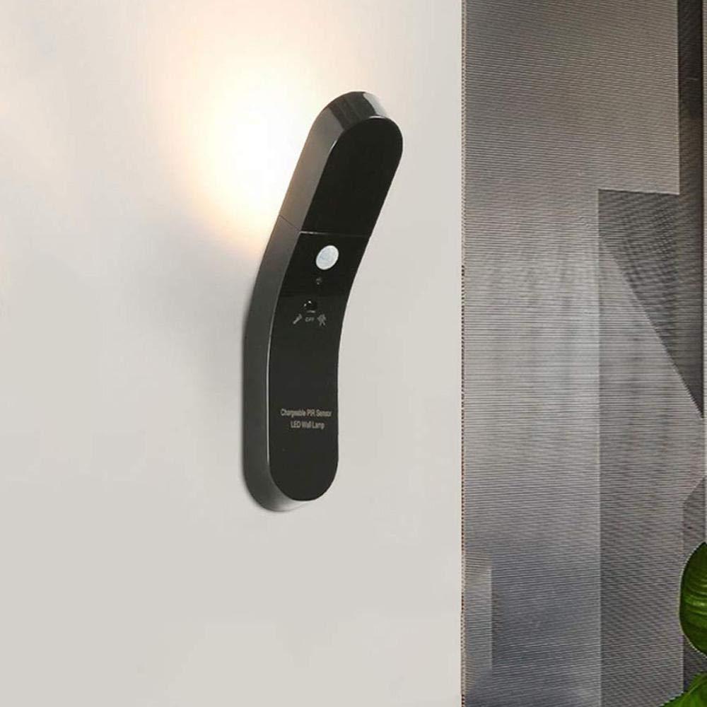 2 in 1 壁 LED モーションセンサーライト フラッシュライト 1W USB 充電式 クローゼット ナイトライト 分離可能な壁ベース 回転ランプヘッド キャビネット 廊下 階段 ワードローブ用 6219947685957 B07QRVWZWB 3000k Black