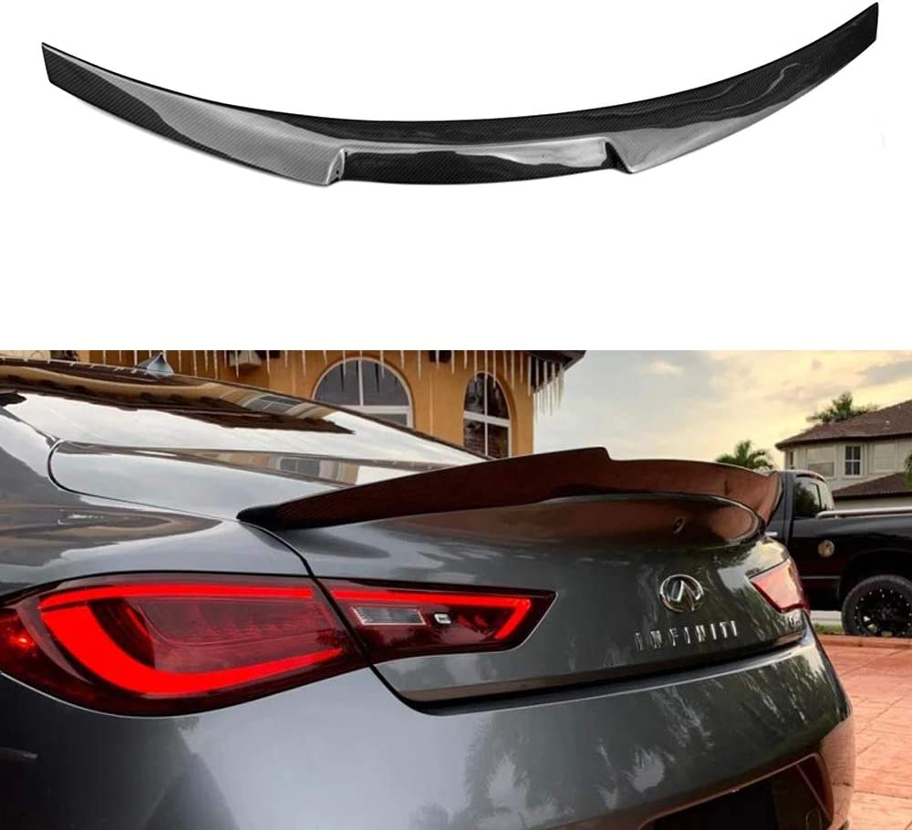 Style 1 XinYu Carcyling for Infiniti Q60 Coupe 2016-2019 Carbon Fiber Rear Trunk Spoiler Wing