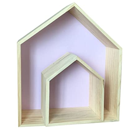 Da Jia 2pcs Wooden House Shaped Wall Storage Shelf Kids Room Decorationpurple