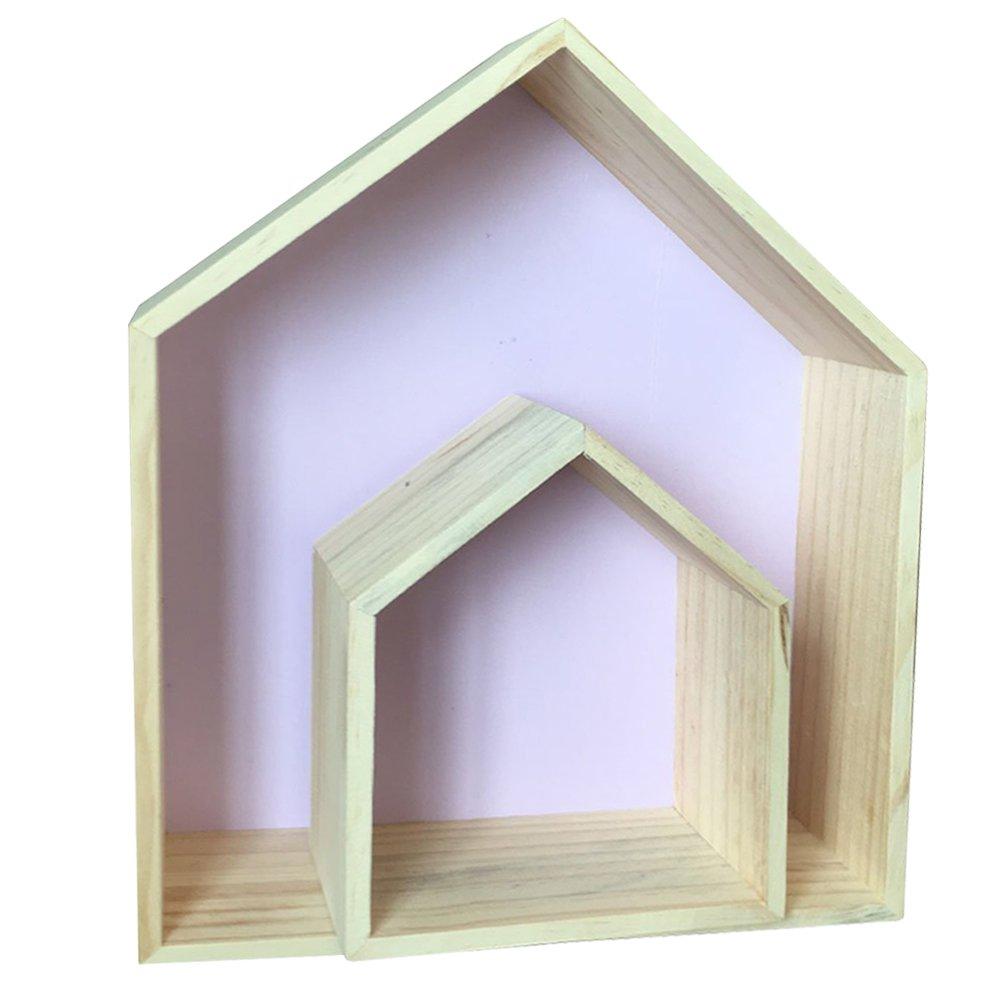 Da Jia 2PCS Wooden House-shaped Wall Storage Shelf Kid's Room Decoration(Purple)