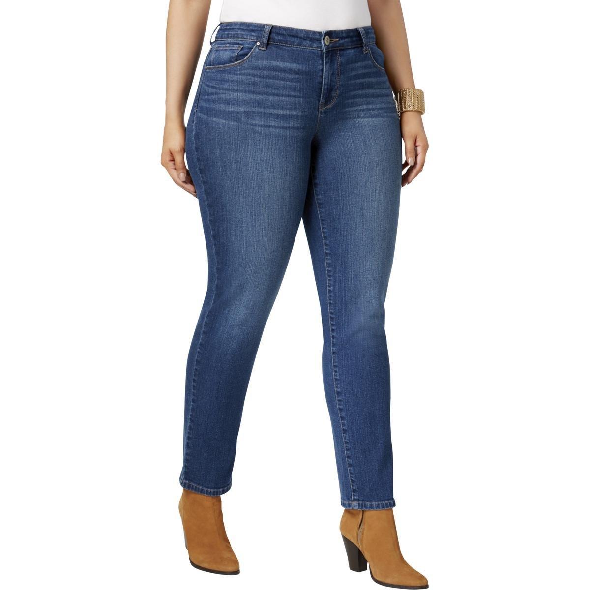 Style & Co. Womens Plus Mid-Rise Whisker Wash Slim Leg Jeans Blue 18W