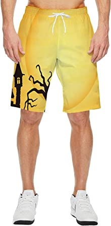 Scary Halloween Night Mens Quick Dry Beach Shorts Casual Shorts Breathable Swim Trunks Board Shorts Pants