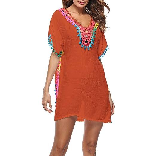 Vestido de Playa Mujeres con cuello en V de algodón de ganchillo ...