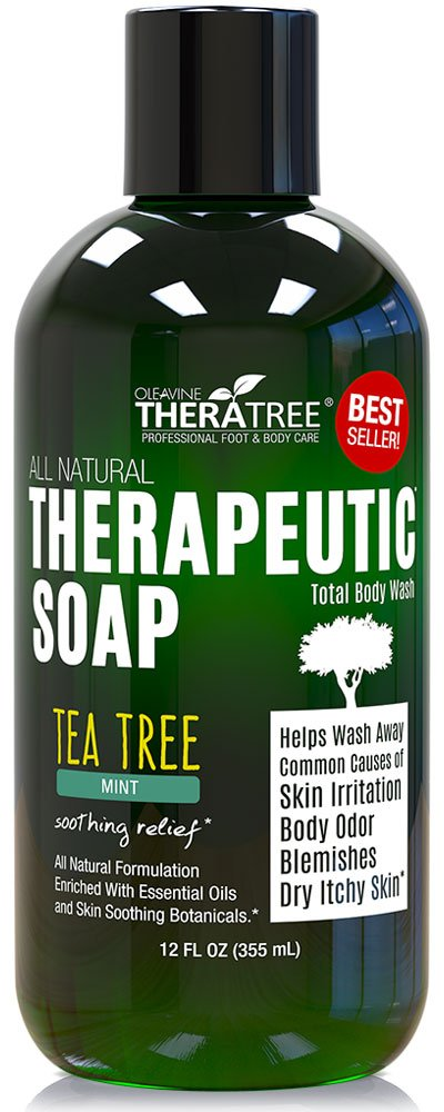 Therapeutic Tea Tree Oil Soap with Neem Oil - 12oz - Helps Fight Common Causes of Skin Irritation & Helps Restore Healthy Complexion for Body and Face by Oleavine TheraTree