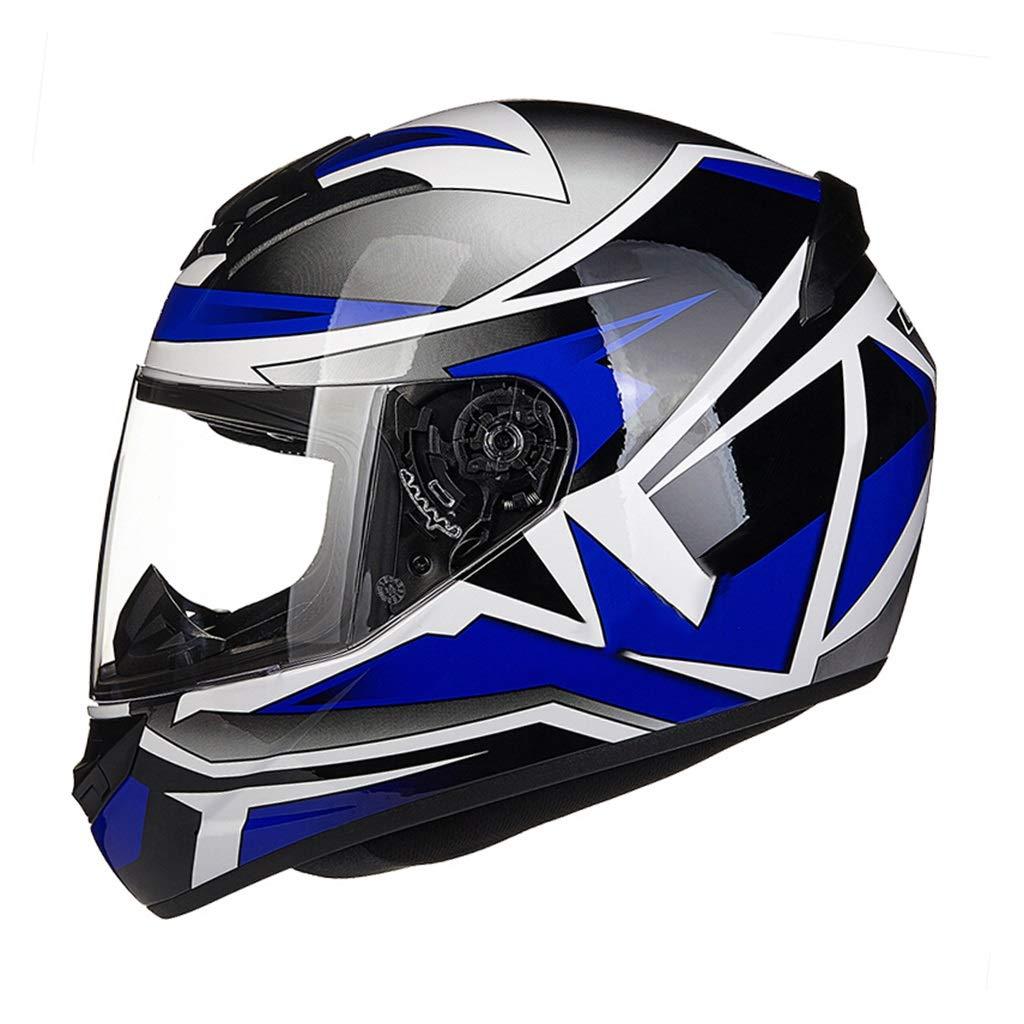 GWM アンチ霧ヘルメット、電動バイクのフルフェイスヘルメット、男性と女性の完全なカバー四季ヘルメットを実行し、レーシングスポーツカーヘルメット、人格レトロファッションフルフェイスヘルメット (色 : 青, サイズ さいず : L l) 青 L l