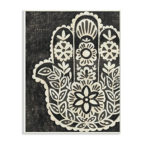- The Stupell Home Decor Collection Floral Pattern Black and White Hamsa Wall Plaque Art, 10x15, Multicolor
