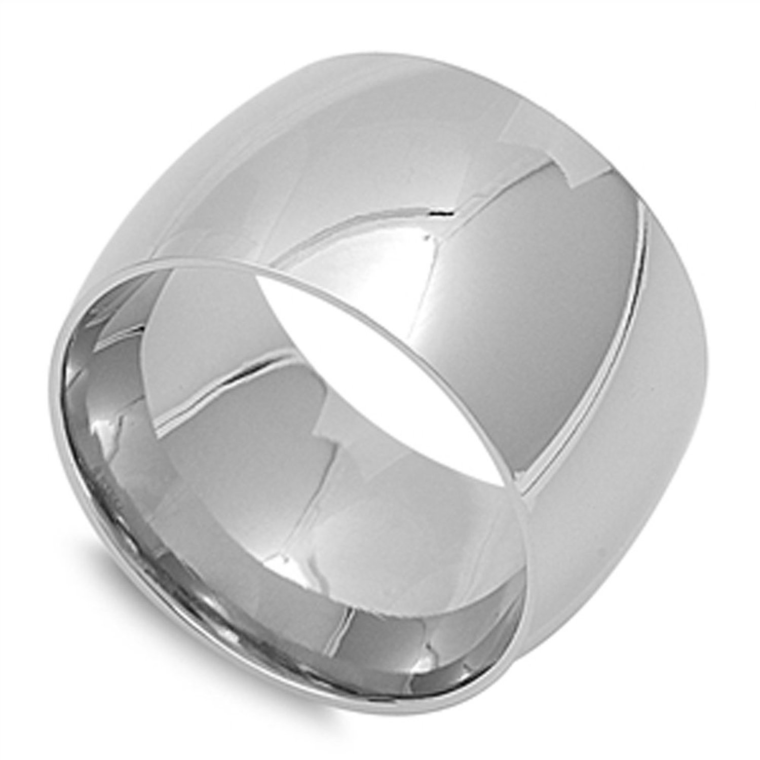 15mm high polished stainless steel unisex men wedding band ring