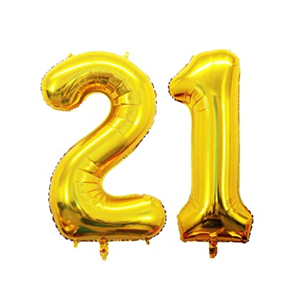 GOER 42 Inch Gold Number 21 BalloonJumbo Foil Helium Balloons For 21st Birthday Party