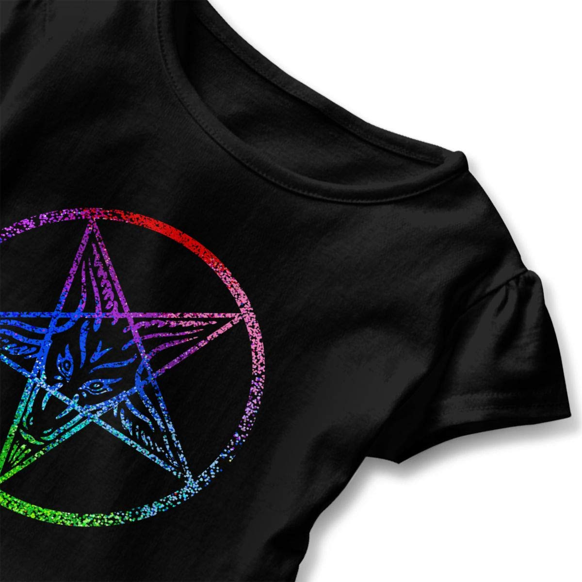CZnuen Feminist Satanic Pentagram 2-6T Baby Girls Cotton Jersey Short Sleeve Ruffle Tee