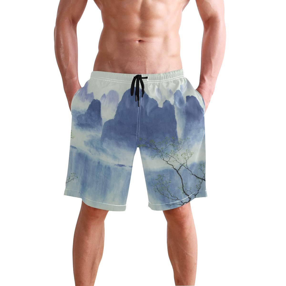 JERECY Mens Swim Trunks Chinese New Year Picture Fuwa Quick Dry Board Shorts with Drawstring and Pockets