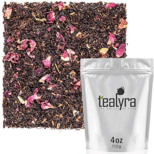 Tealyra - White Peach Rose - Black Loose Leaf Tea - Hibiscus - Honeybush - Natural Rose Scented Peach Tea Blend - Luxurious Loose Tea - Medium Caffeine - All Natural - 112g (4-ounce)