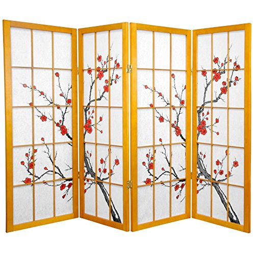 Oriental Furniture 4 ft. Tall Cherry Blossom Shoji Screen - Honey - 4 Panels (Lamp Paper Cherry Floor)