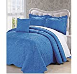 AD 4 Piece Royal Blue Queen Bedspread Set, Floral Themed Bedding Stylish Vintage Antique Pretty Classic Elegant Shabby Chic Scalloped Flower Garden Damask French Country, Microfiber, Polyester