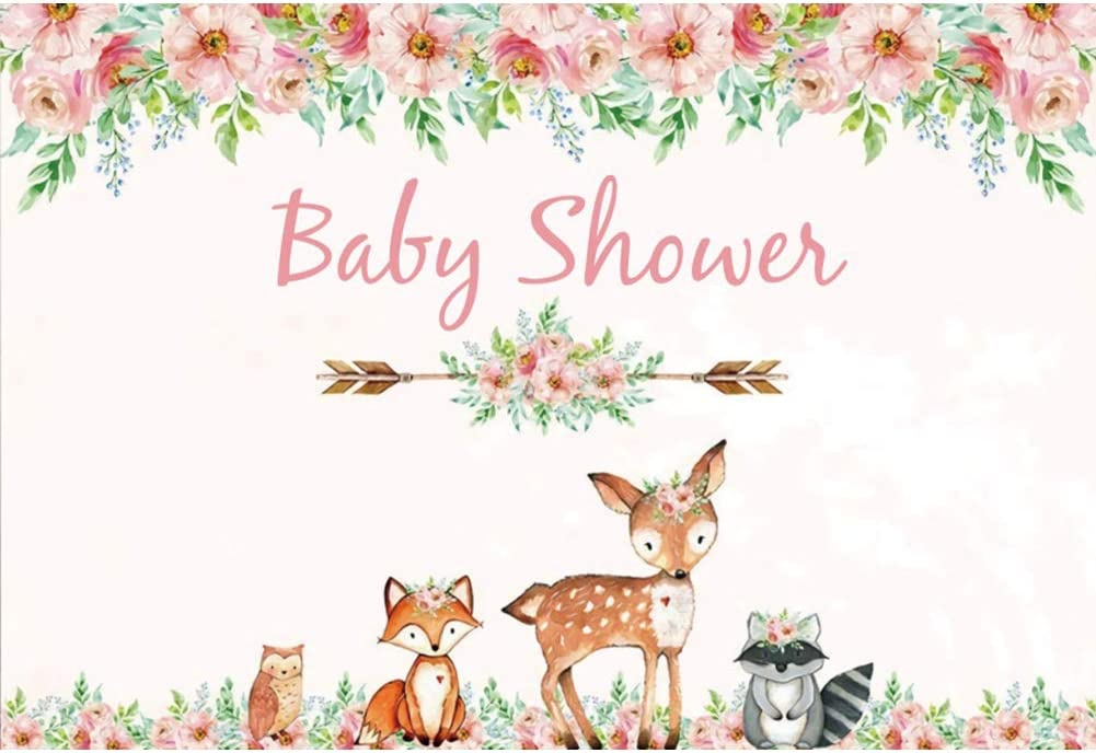 YEELE 10x8ft Pink Flower Baby Shower Backdrop for Girls Little Fox Deer with Garland Photography Background Kids Infant Newborn Photos Digital Wallpaper Photobooth Studio Props