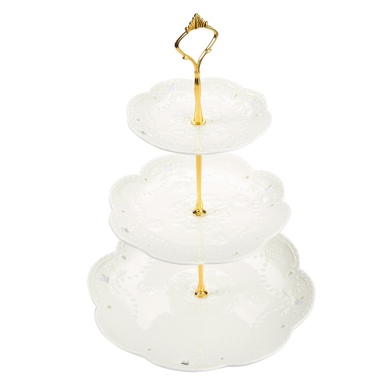 Juvale 3-Tier Ceramic Dessert Stand - Perfect Holding Cupcakes, Cakes, Fruit - Great Weddings, Birthdays, Parties, Baby Shower, Bridal Showers | White
