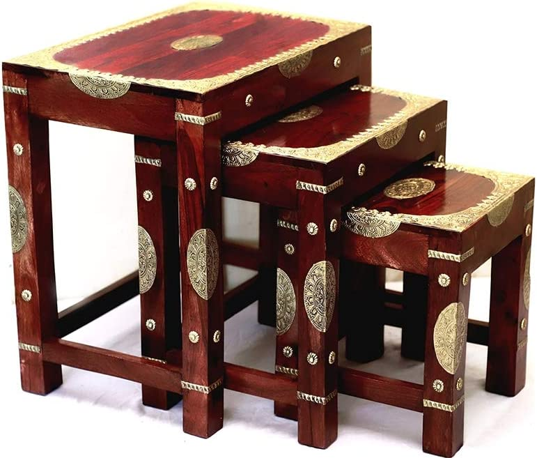 Rosmonte - Handmade Indian Wooden Nesting Tables with Brass Accents - Coffee Table, End Table - 3 Piece Set