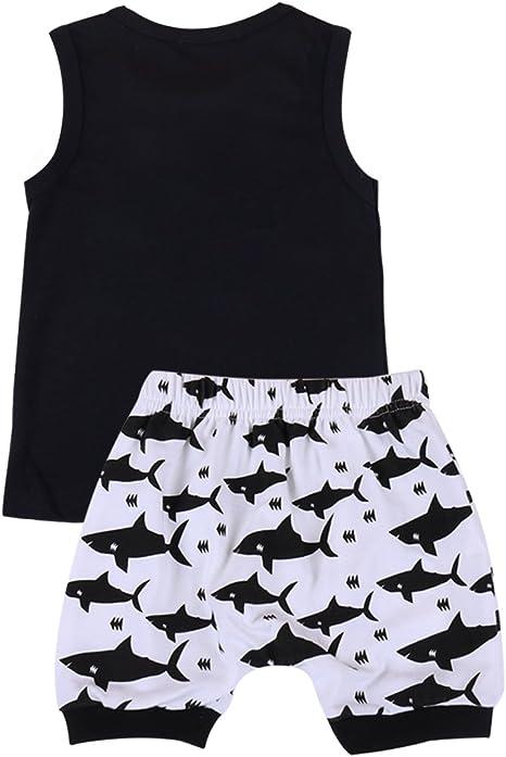 camiseta de manga corta pantalones cortos con dise/ño de tibur/ón 2 piezas Conjunto de ropa para beb/é y ni/ño