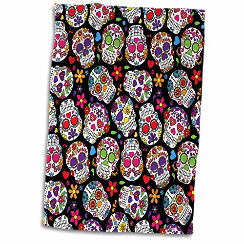 3D Rose Colorful Tossed Sugar Skulls Pattern Hand Towel, 15""