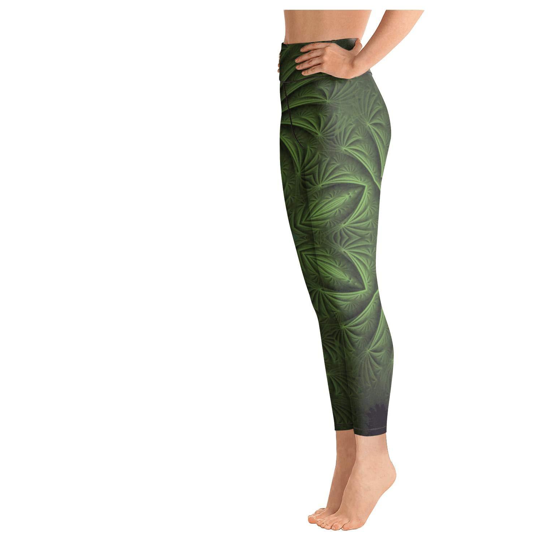 klkljn Women Yoga Pants Breathable Leggings Glass Flower Design Outfits Capris