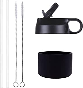 The Mass Wide Mouth Straw Lid and Silicon Boot for 12-40 oz Wide Mouth Hydro Flask and Most Sports Water Bottle