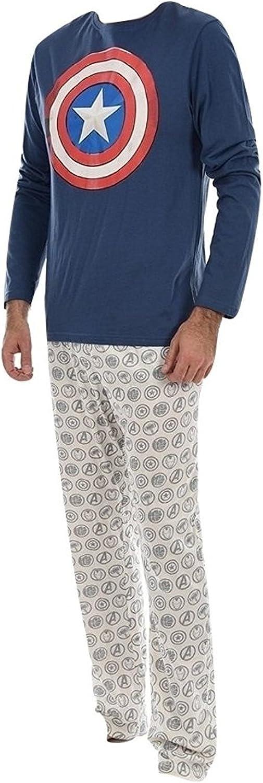 Marvel Pijama Largo Hombre Captain America Azul Marino L