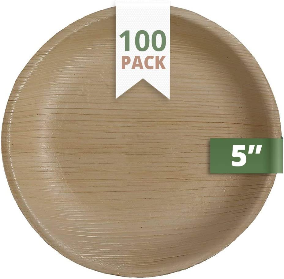 CaterEco Round Palm Leaf Plates Set (Pack of 100) | Appetizer Or Dessert Plates | Ecofriendly Disposable Dinnerware | Heavy Duty Biodegradable Party Utensils for Wedding, Camping & More