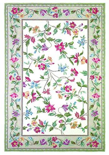 [KAS Rugs 1707 Colonial Floral Vine Area Rug, 5-Feet 3-Inch by 8-Feet 3-Inch, Ivory] (Vine Wool Area Rug)